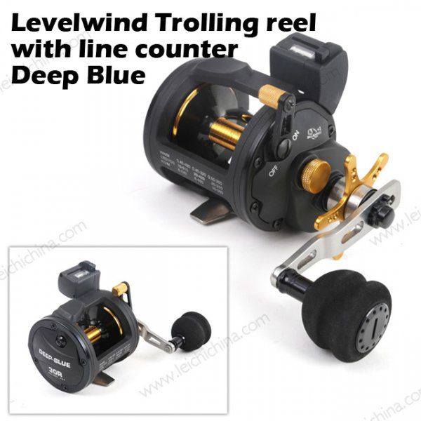 Levelwind Trolling reel with line counter Deep Blue
