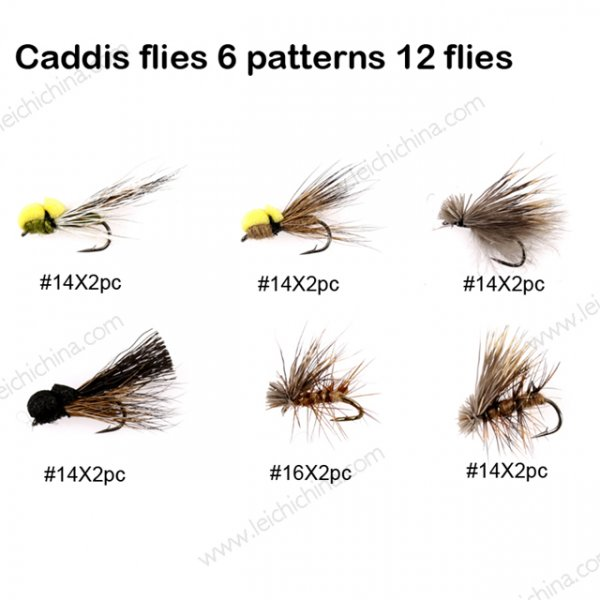 Caddis flies 6 patterns 12 flies