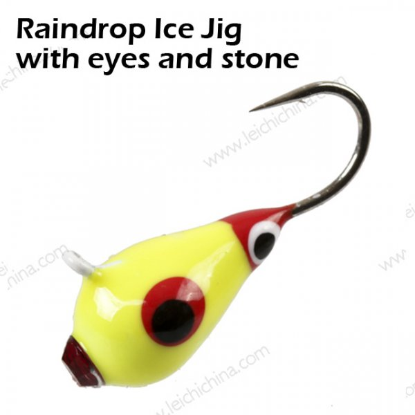 Raindrop Ice Jig with eyes and stone