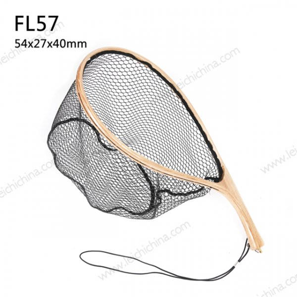 Curve handle Soft rubber coated tenkara landing net FL57
