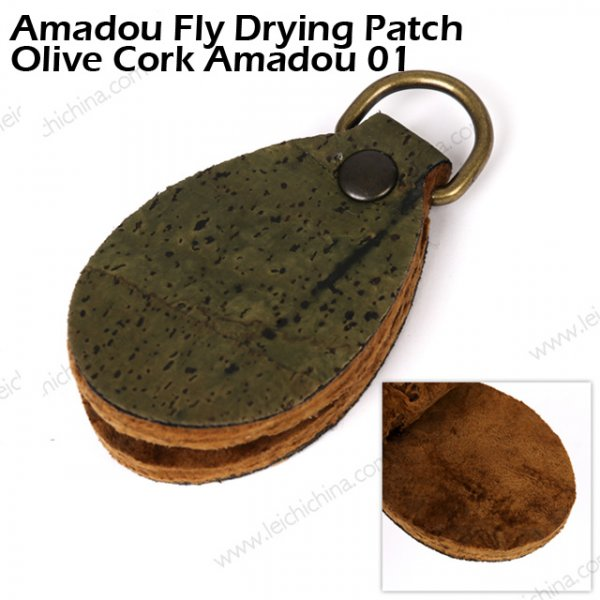 Amadou Fly Drying Patch Olive Cork Amadou 01