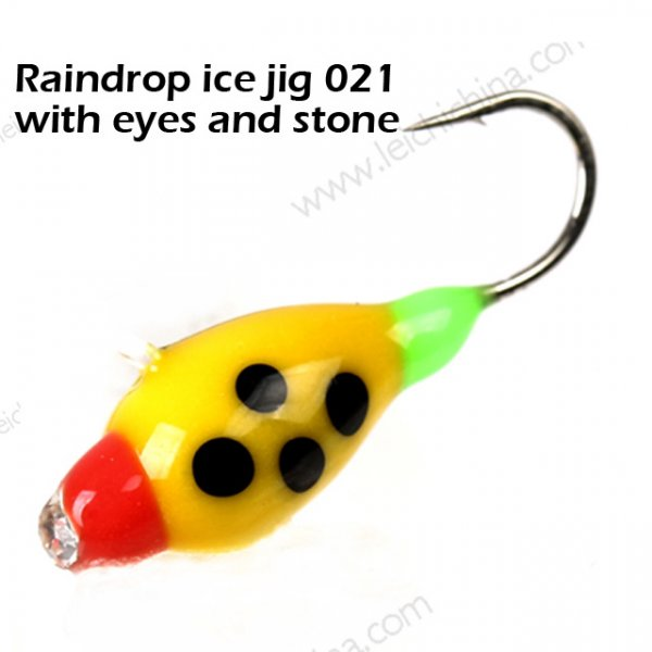 Raindrop ice jig 021 with eyes and stone