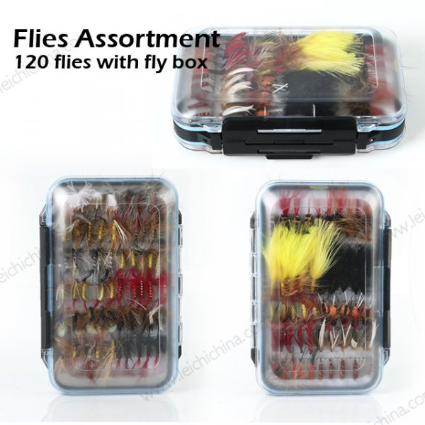 fly fishing flies assortment with fly box