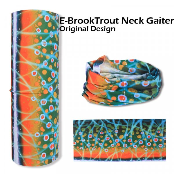 seamless tube Fly fishing Neck Gaiter - brook trout design