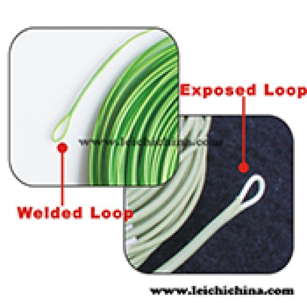 Fly fishing line with PVC welded loop and exposed loop