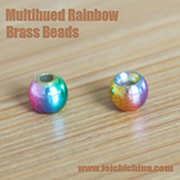 Multihued Rainbow Brass Beads
