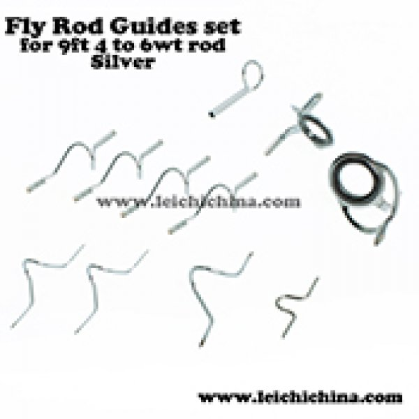Silver fly rod guide set for 9ft 4wt to 6wt rod