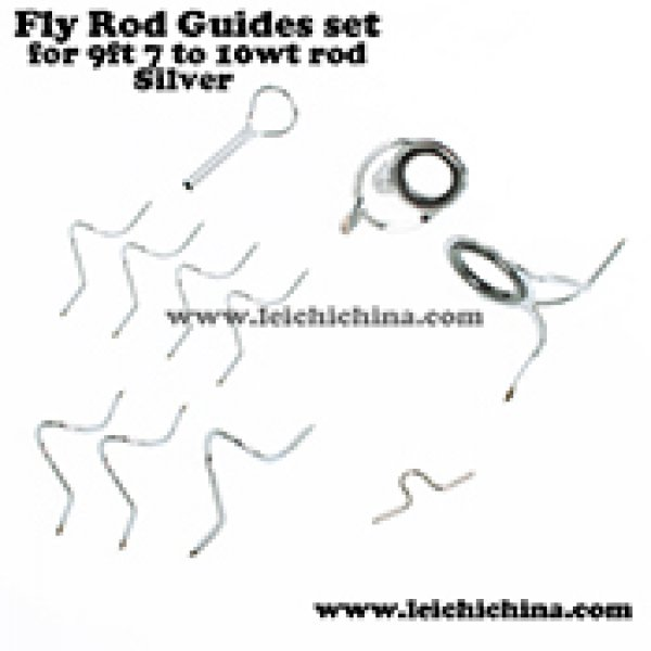 Silver fly rod guide set for 9ft 7wt to 10wt rod