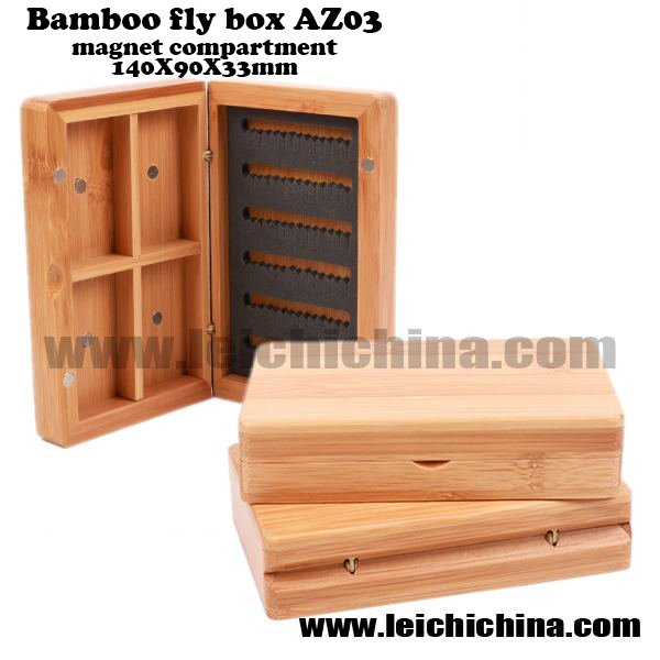 Bamboo fly box AZ03 magnet compartment 140 90 33mm