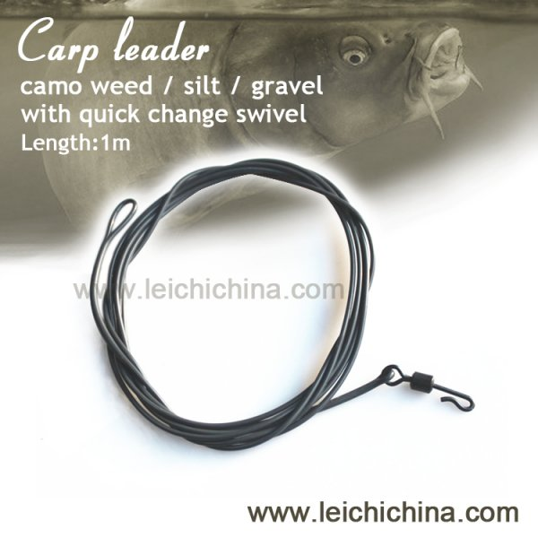 carp fishing poly leader with quick change swivel