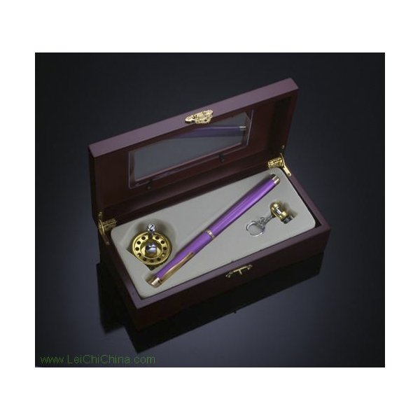 pen-shaped fishing rod set wooden box