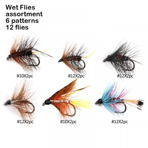 wet flies assortment 6 patterns 12 flies
