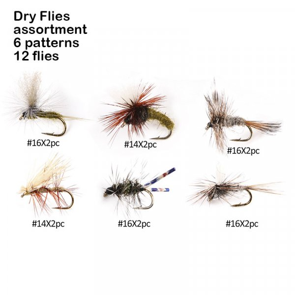 dry flies assortment 6 patterns 12 flies