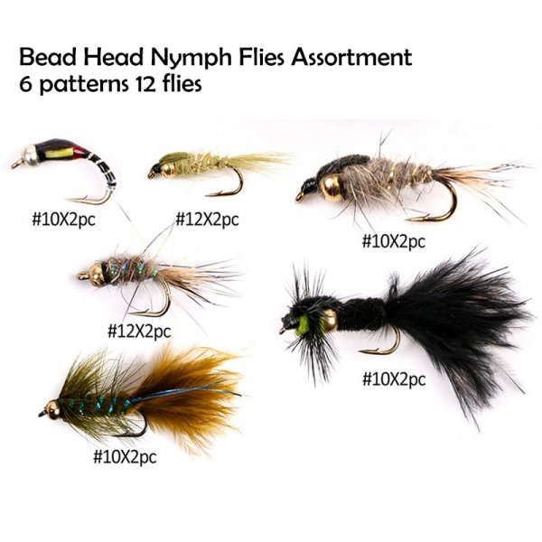 bead head nymph flies assortment 6 patterns 12 flies