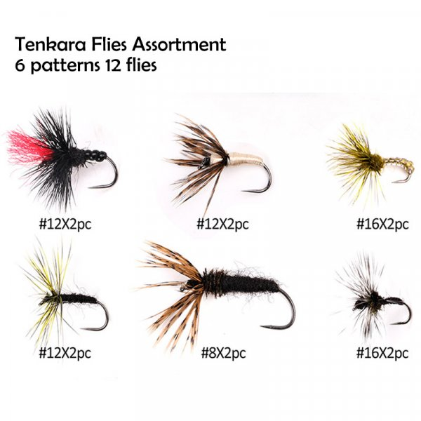 tenkara flies assortment 6 patterns 12 flies