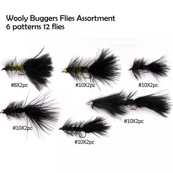 wooly buggers flies assortment 6 patterns 12 flies