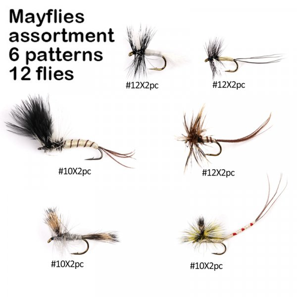 mayflies assortment 6 patterns 12 flies