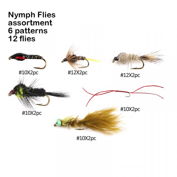 nymph flies assortment 6 patterns 12 flies